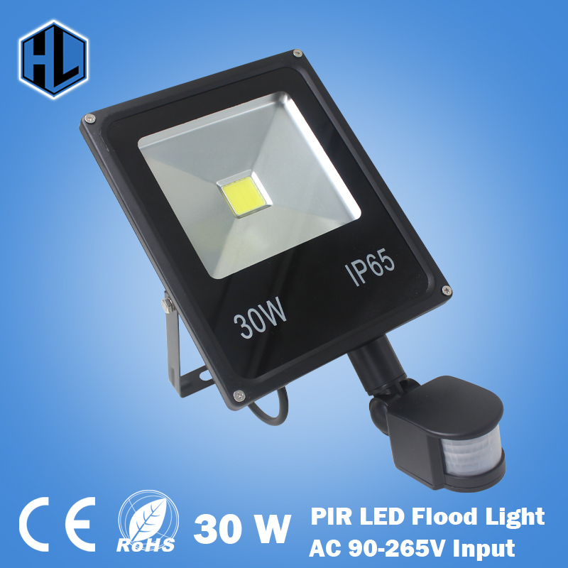 Free Shipping AC85-265V 30W White/Red/Yellow/Green/Blue Led Flood Light Led Lamp Black Shell PIR Motion Sensor Induction Sense 70meter set 6mm spiral wrapping bands white black red yellow blue green grass green each 10meter