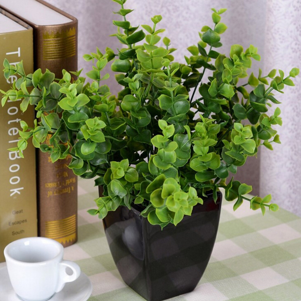 7 Branches Artificial Fake Plastic Eucalyptus Plant Flowers Green ...
