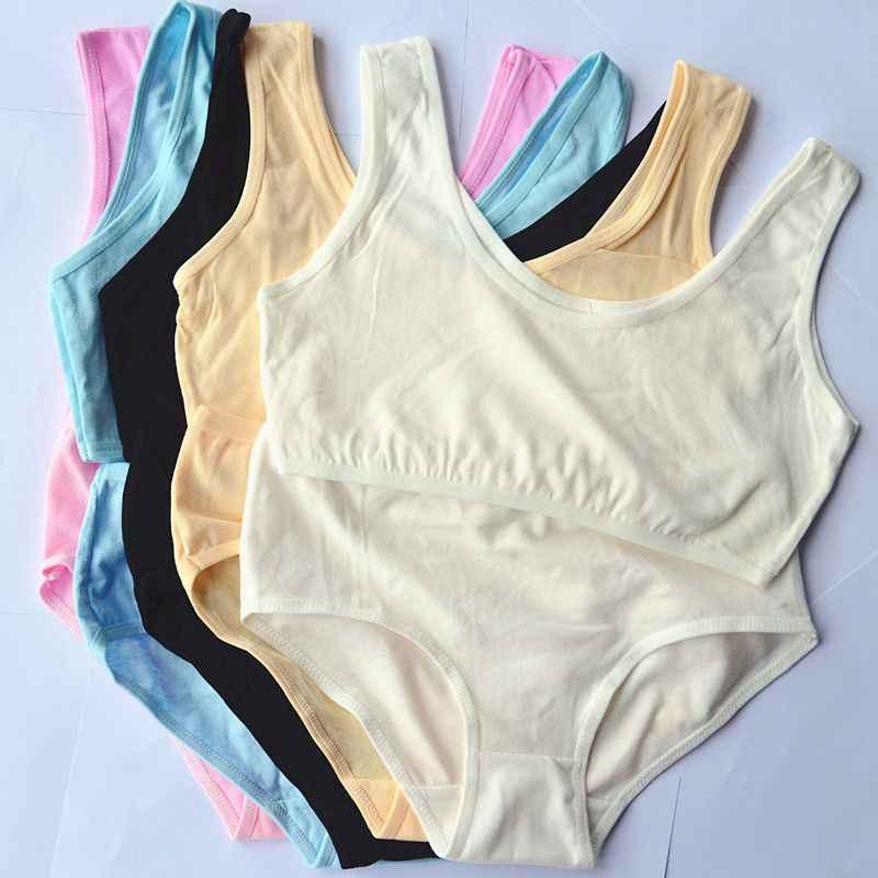 58867e334b ... 3 Set Solid Girls Sports Teenage Girl Underwear Sports Teenage Bra and Panties  Set Cotton Training ...