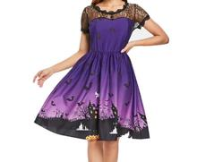 Halloween Plus Size Bat Embroidery Dress Women Punk Party Dresses Bowknot Self Gothic Clothing Swing Vestidos цены