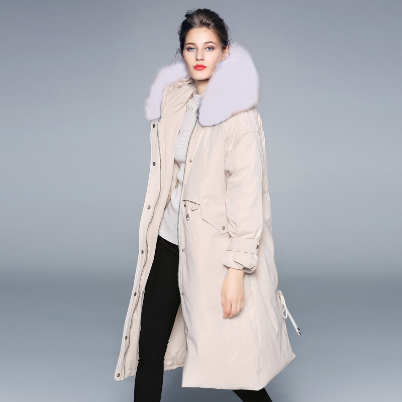 Large Real Raccoon Fur Collar 2019 Female Long   Down   Parka Winter Jacket   Coat   Women White Duck   Down   Jacket Loose Warm Hooded   Coat