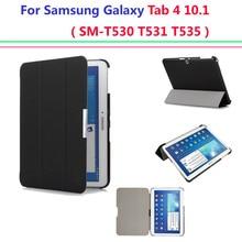 Caliente ultra delgado caso de la cubierta para samsung galaxy tab 4 10.1 caso de la cubierta de Reposo Automático sm-T530 T531 T535 tablet caso