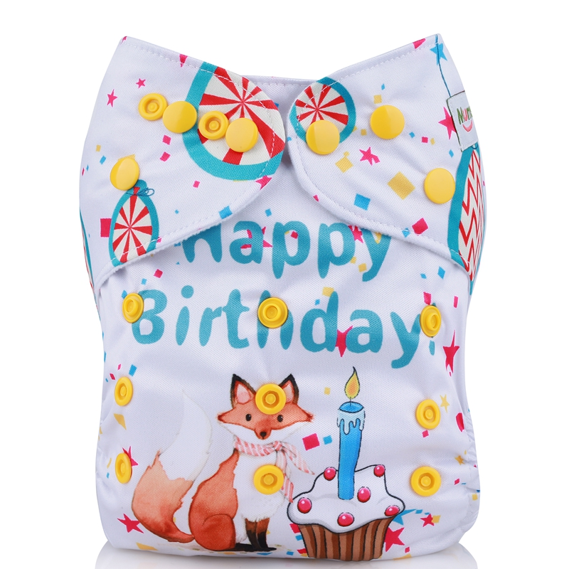 [Mumsbest] 2019 Hot New Design Digital Positioning Cloth Diapers Baby Nappies Liners Happy Birthday Baby Cloth Diaper Covers