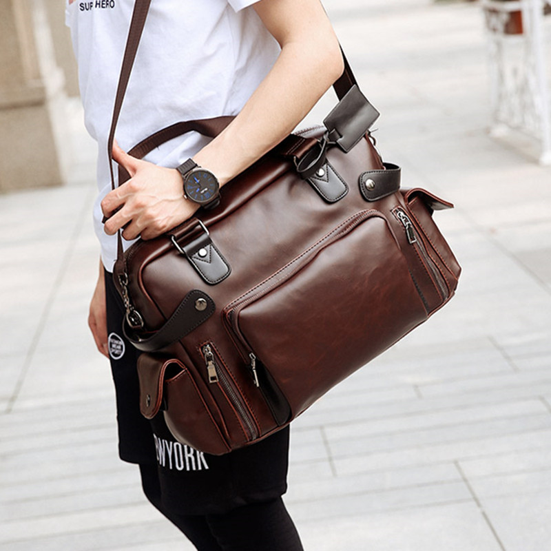 "2019 High Quality 14"" Vintage Leather Men Messenger Bags Large Capacity Travel Bags Brown Crossbody Shoulder Bags Handbags"