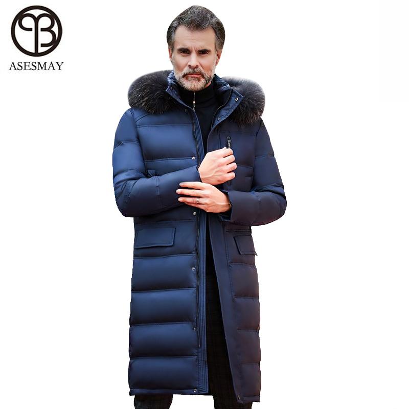 Asesmay брендовая одежда мужская зимняя куртка белый утиный пух высокое качество теплый толстый выше колена X-long гусиное перо пальто парки