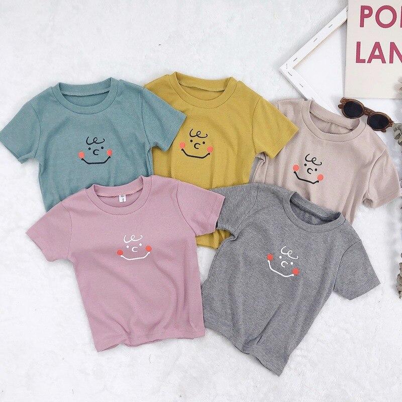 2019 Summer Kids Cartoon Printing T-shirts Short Sleeve Boys Girl 100% Cotton Pattern Soft Girls T-shirts Children 1-5 Age Tees