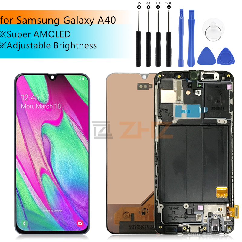 Super AMOLED For Samsung A40 LCD 2019 touch Screen Digitizer Assembly For Samsung A40 A405 LCD