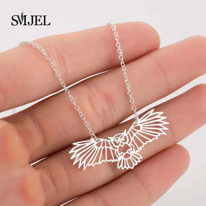 SMJEL новый стиль элегантное женское ожерелье сова кулон свитер цепи длинные цепочки и ожерелья s животных Ювелирные украшения изысканный брелок