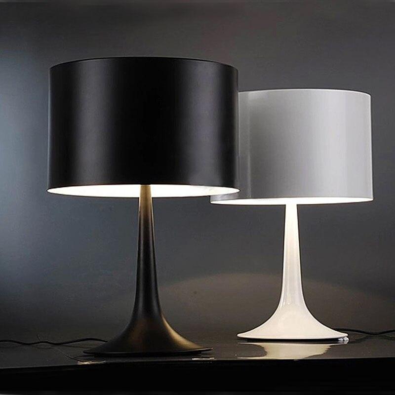 Современная кровать, боковая лампа для спальни, домашний декор гостиной, Минималистичная настольная лампа LBlack, белый цвет, абажур, светодио...