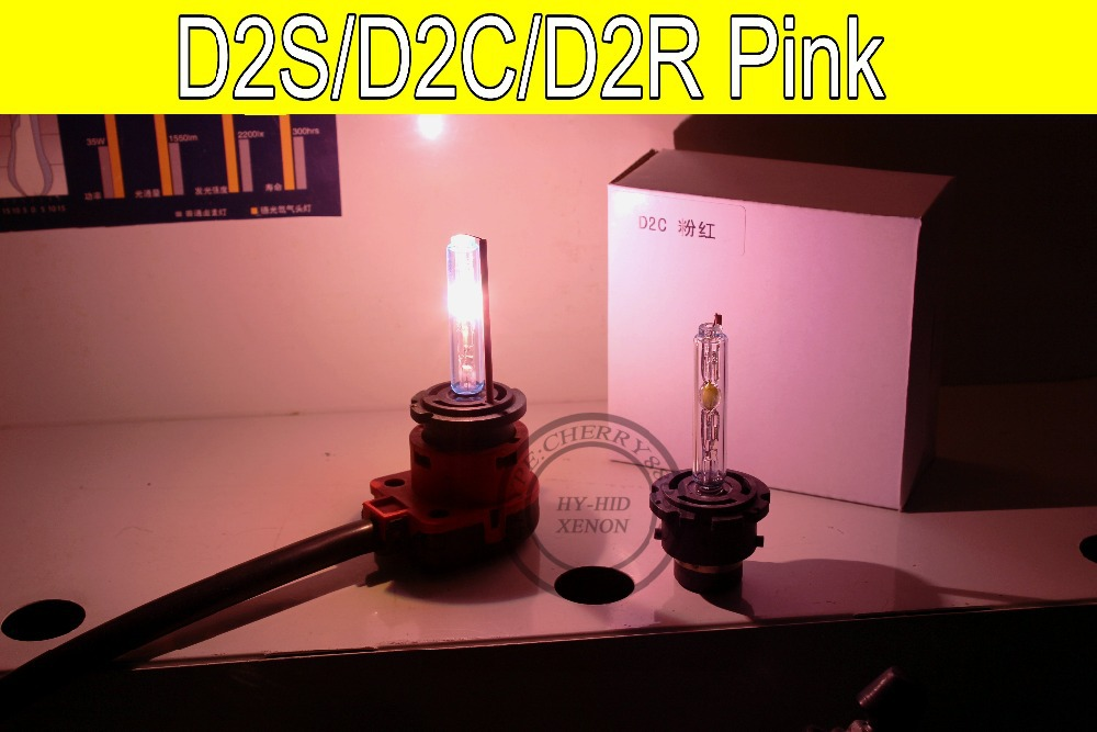 Free Shipping 2pcs D2S/D2C/D2R HID Xenon Replacement Light Lamp Bulb Car Headlight Lighting 35W PINK replacement d2c 35w 3000lm 6000k white light hid xenon lamp bulb headlight for car 2 pcs
