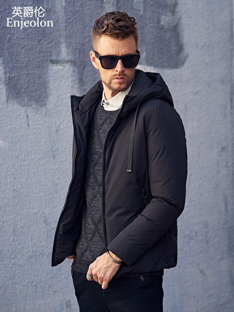Enjeolon брендовая модная Утепленная зимняя пуховая куртка с капюшоном мужская легкая одежда черное зеленое пальто большие размеры 3XL пуховик ...