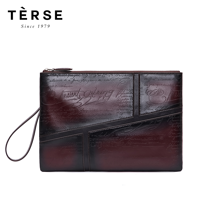 TERSE 2018 New Handbags For Men Real Cow Leather Handmade Clutches Patchwork Style large Clutches Fashion Bag Custom Logo 9696-1