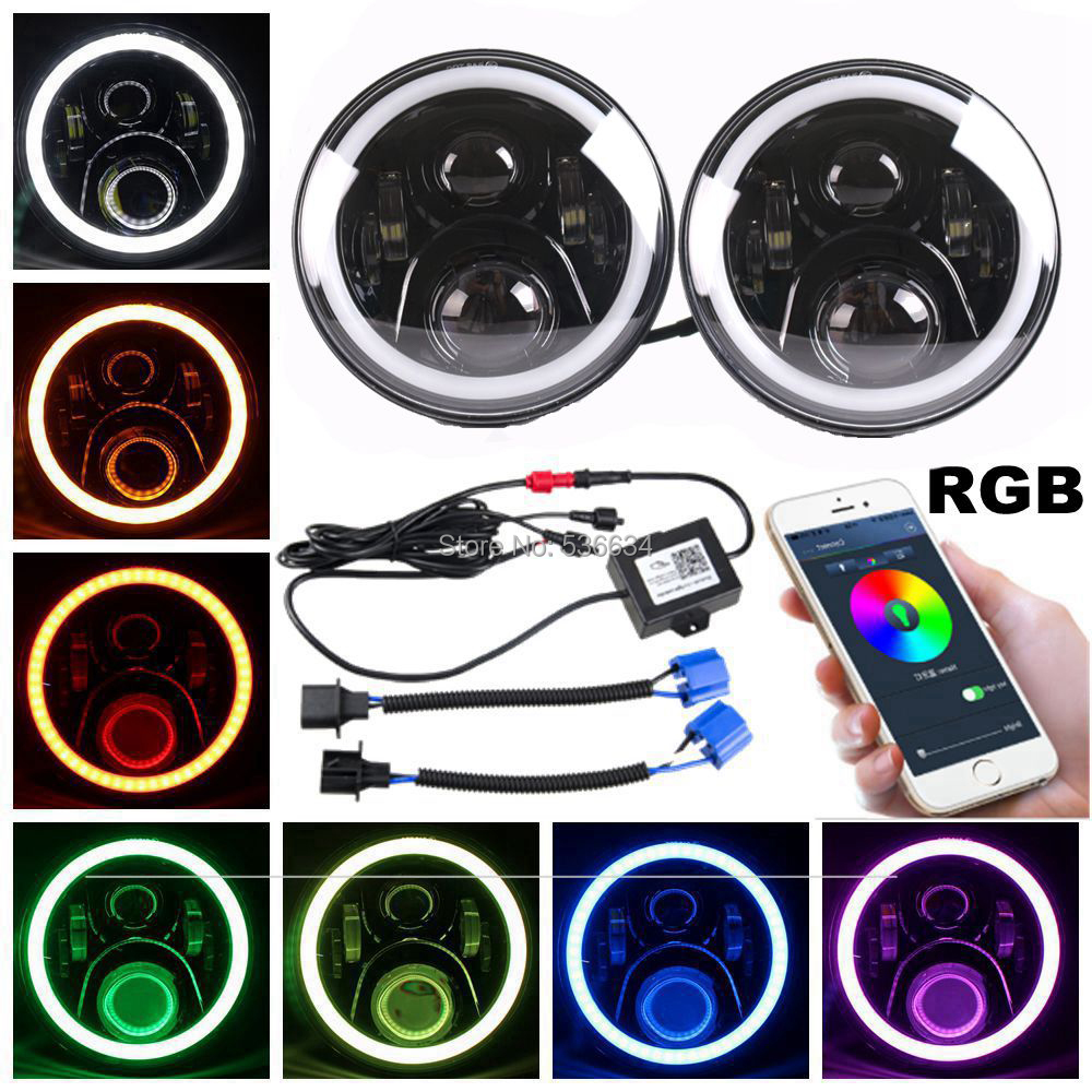2PCS Black 7inch LED Headlights with RGB DRL For 2007-2014 Jeep Wrangler Unlimited JKU 4 Door,for 1992-2001 AM General Hummer 2 piece set locking hood look catch hood latches kit for jeep wrangler jk rubicon sahara unlimited 2007 2016
