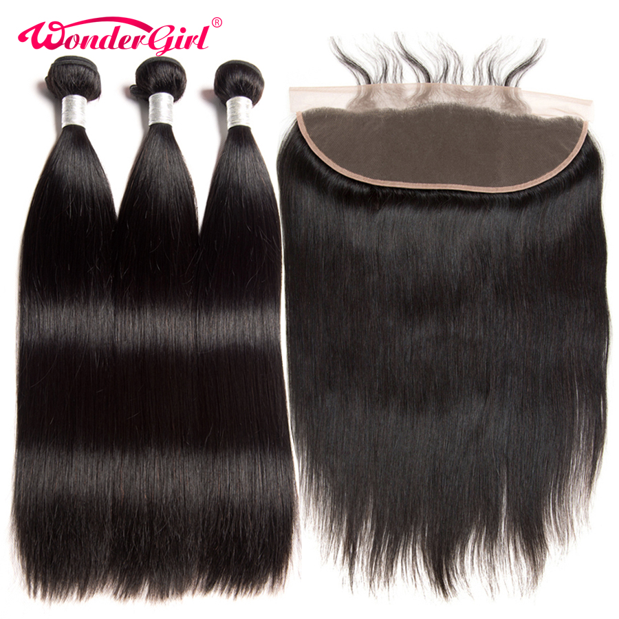 Peruvian Straight Hair Bundles With Frontal With Baby Hair Remy Hair 13x4 Lace Frontal Closure With