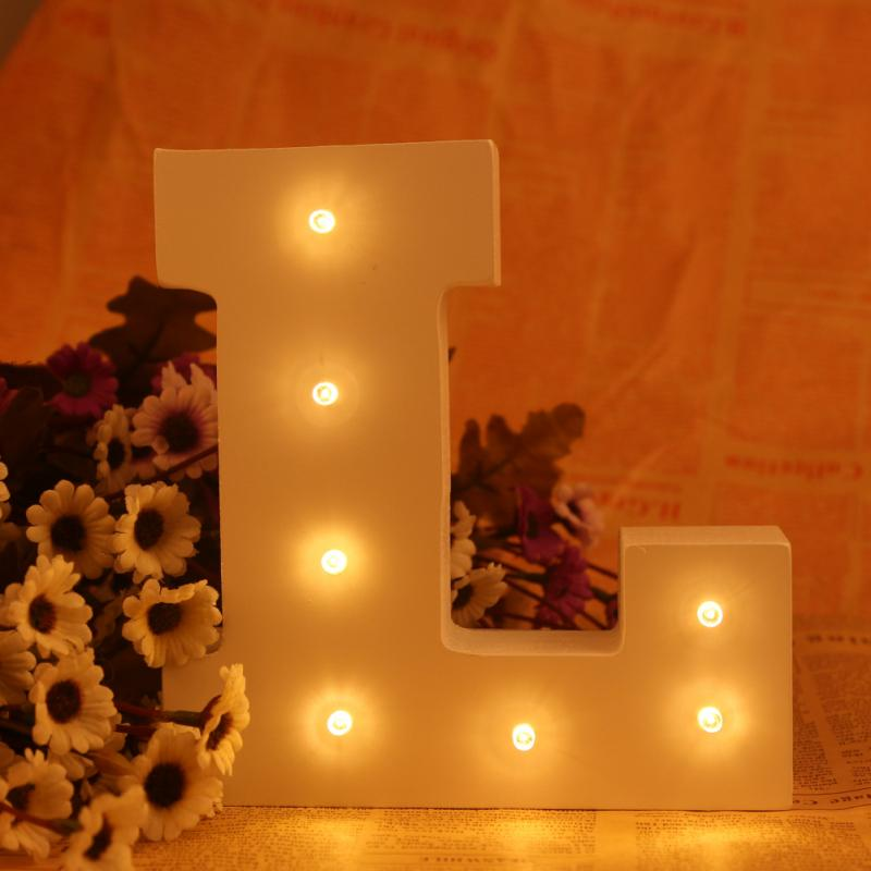 New ledertek Romantic Indoor Letter Lumineu WALL Night Lamp White Wooden L Letter LED Marquee Sign Alphabet LIGHT UP Night Light