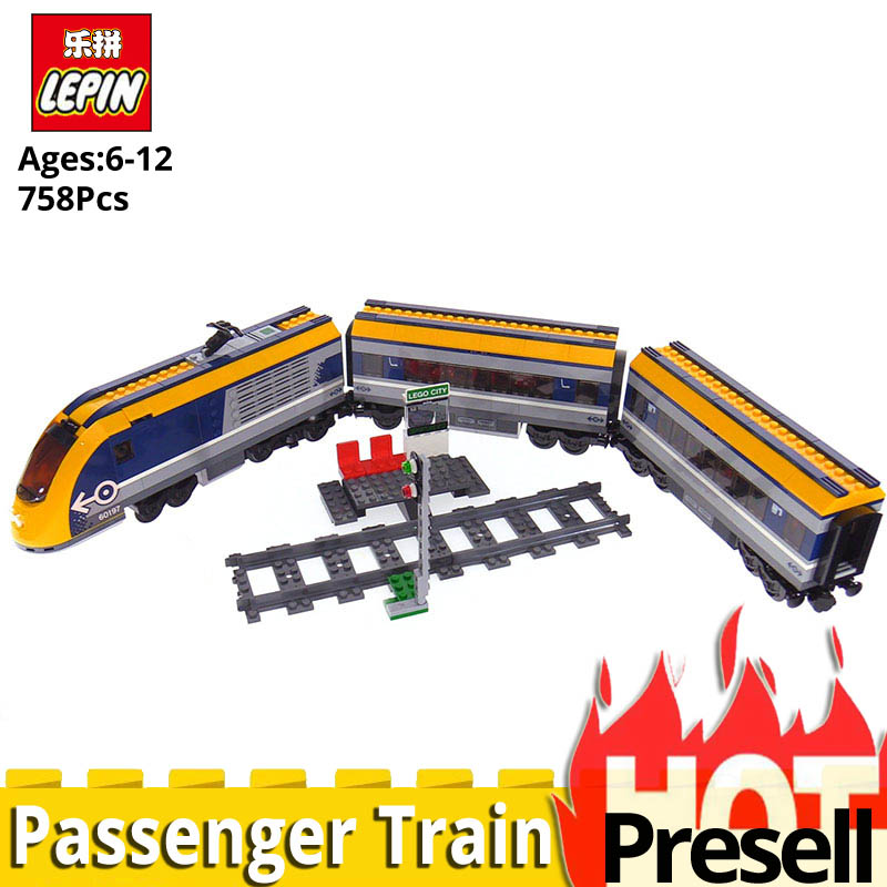 все цены на NEW Lepin City Series 02117 Passenger Train Model Legoinglys 60197 Set Building Blocks Bricks Kits Toys for Child Christmas Gift онлайн