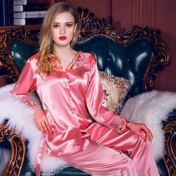 Women Satin Silk Pajamas Red Purple V-neck Pyjama Sets Lace Embroidery Imitation Pijamas Luxury Sleepwear Twinset