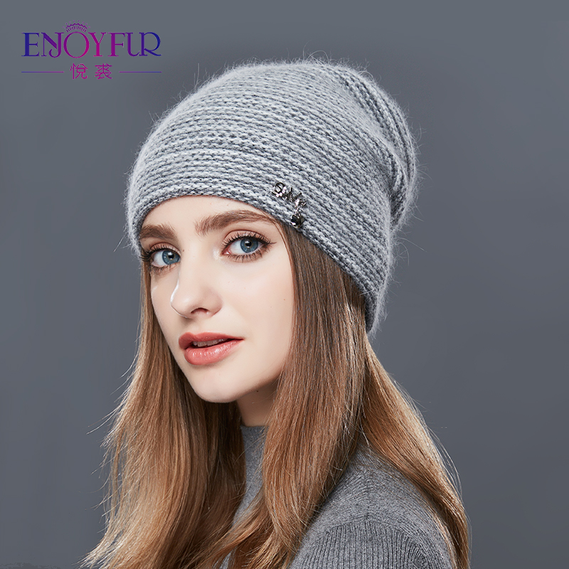 ENJOYFUR Rabbit Cashmere Knitted Winter Hat Women Mixed Color Thick Female   Skullies     Beanies   Warm Gravity Falls Cap Women's Hats