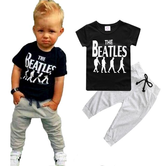 Ropa de verano para niños conjuntos de manga corta chico camiseta pantalones  traje conjunto de ropa 908072a02265f