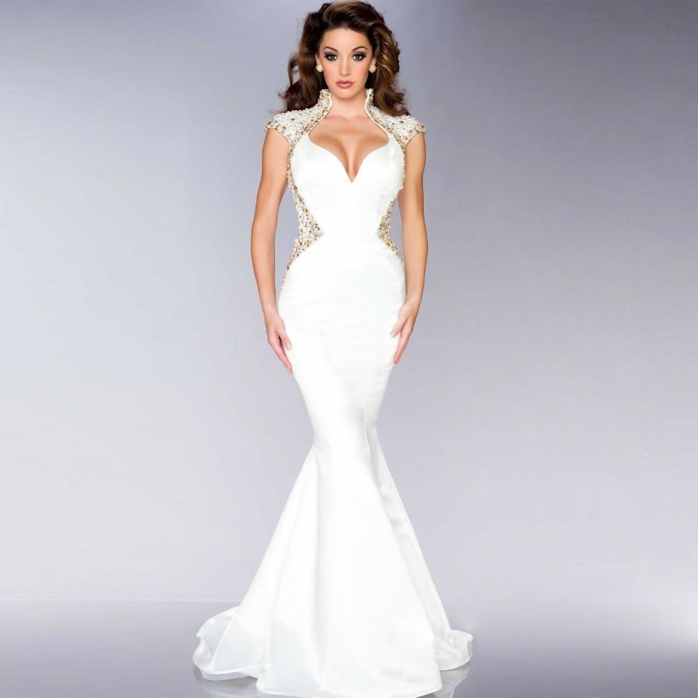 Designer Evening Dresses Sale On White: Bling Mermaid White Evening Dress Long Vestido Festa Noite