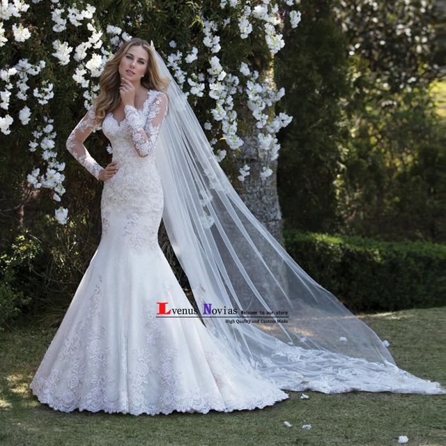 vestido novia bohemio romantic pearls lace long sleeves wedding