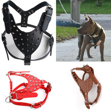 Large Dog Zinc alloy Rivets Spiked Studded PU Leather Dog Harness for Pitbull big Breed Dogs Pet Harnesses vest dog chest strap