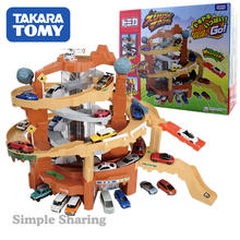 TOMY alloy car electric track parking lot children boy toy gift set thrilling mountain road(China)