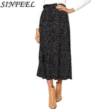 цены на Summer White Dot Floral Print Midi Skirt Women Elastic High Waist Pockets Black Chiffon Skirts Spring 2019 Elegant Female Bottom  в интернет-магазинах
