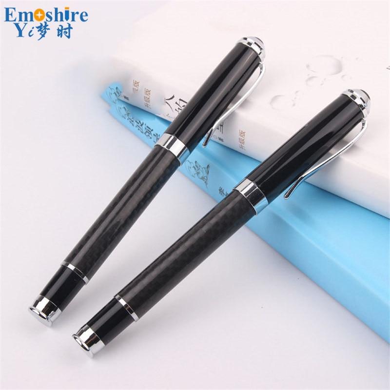 Top Custom Gift Ballpoint Pen Roller Ball Pen Oil Pen Black Carbon Fiber Office School Writing Supplies Free Shipping P006