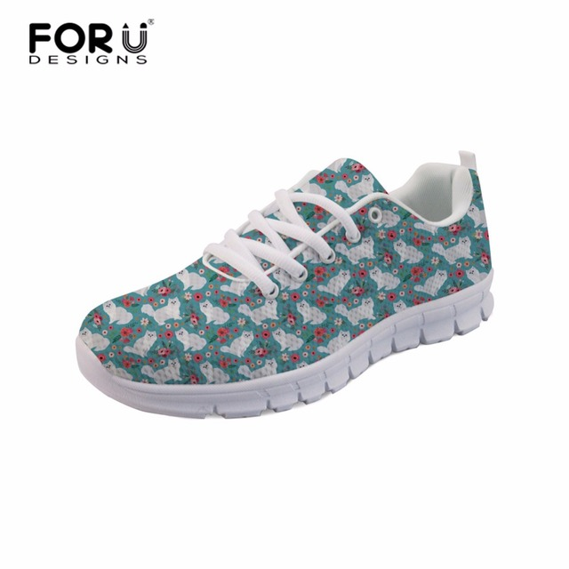 b5e6a34e0c FORUDESIGNS Cat Pattern Women Comfortable Lace-up Shoes Rough Collie Dog  Teens Girls Flat Shoes Hard-Wearing Female Sneakers