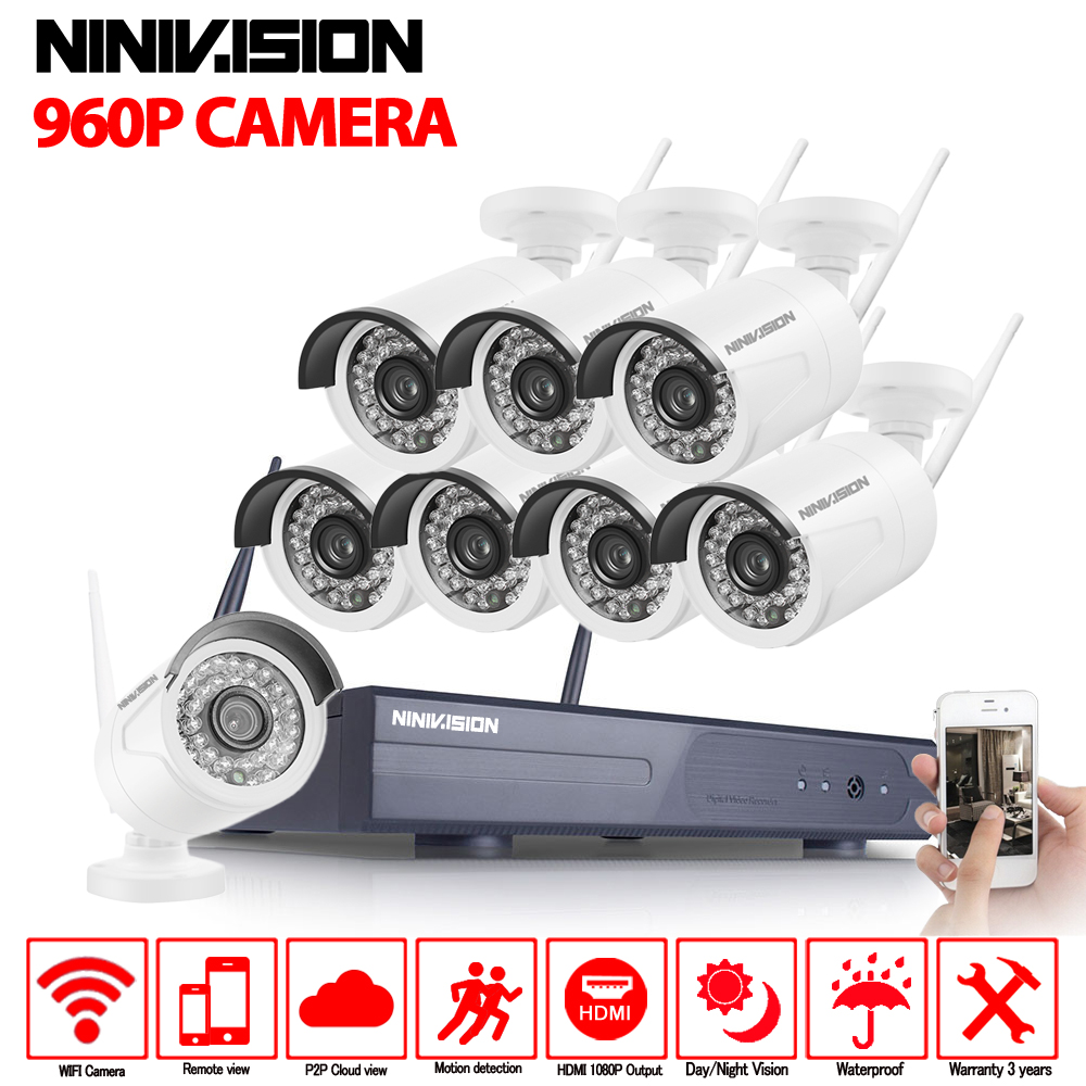 8CH 1080P NVR WIFI Surveillance Kit Plug and Play 960P HD 1.3MP Wireless Waterproof Night Vision Security CCTV System NINIVISION