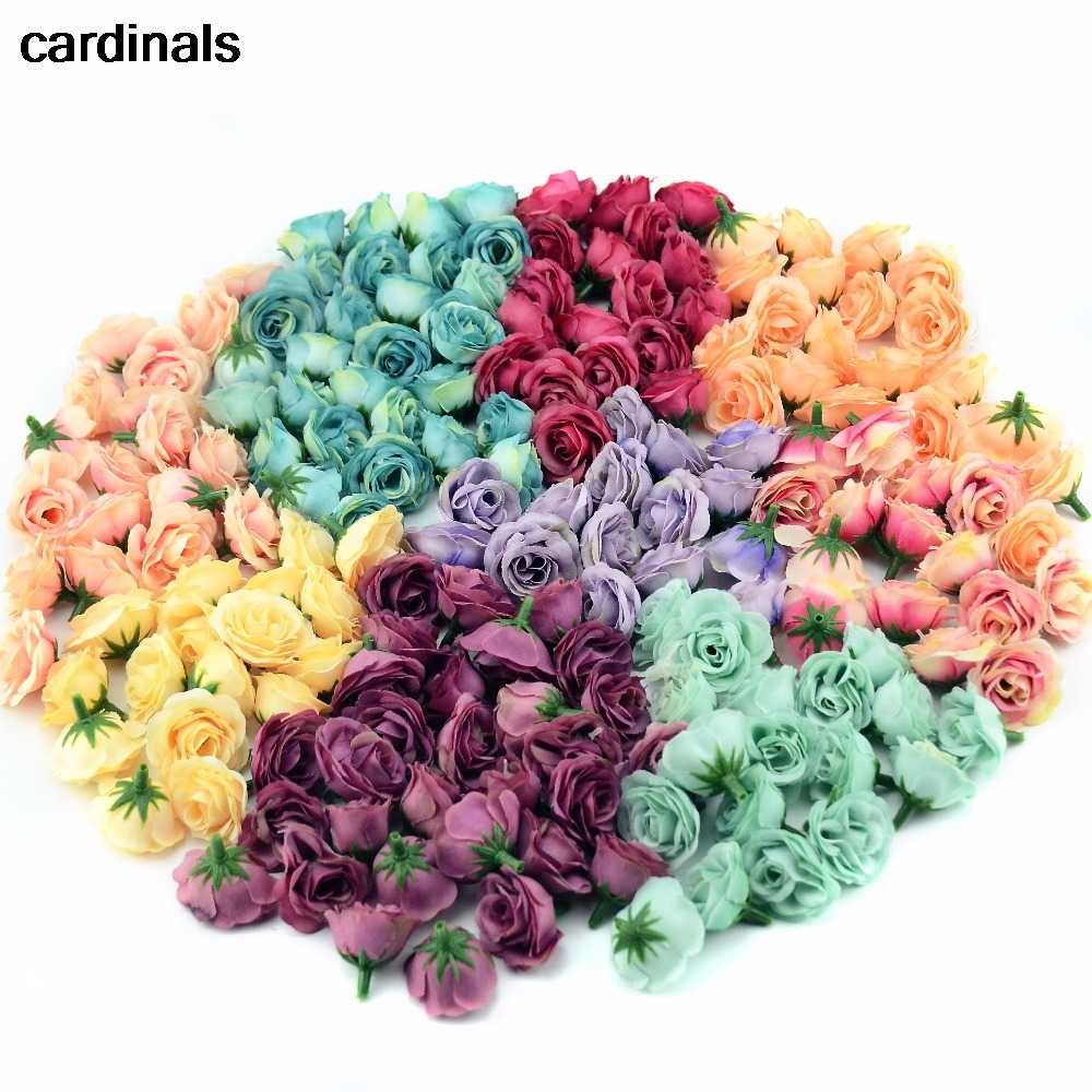 10pcs 2.5cm Mini Silk Artificial Rose Flowers Cloth For Wedding Party Home Room Decoration  DIY Dress  Accessories Fake Flowers