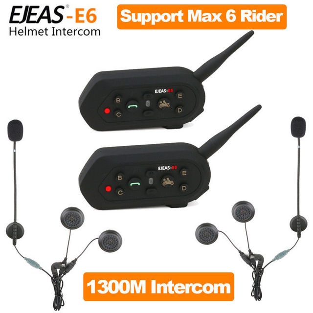 Free shipping! 2PC BT Bluetooth Motorcycle Helmet Interphone Intercom Headset 6 Riders 1300M
