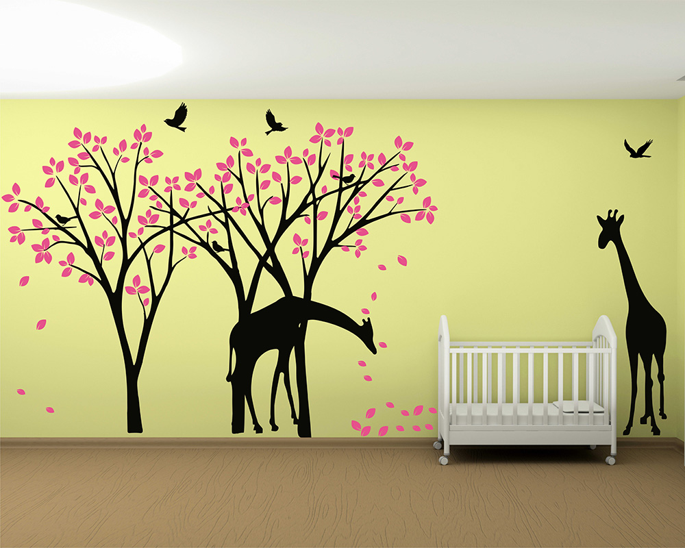 Giraffe Decal Jungle Nursery Birds Wall Sticker Gender Neutral Wall ...