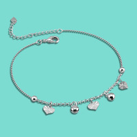 Fashion 925 sterling silver chains,simple Heart-shaped pendant silver anklets,Summer girls popular silver foot jewelry,best gift