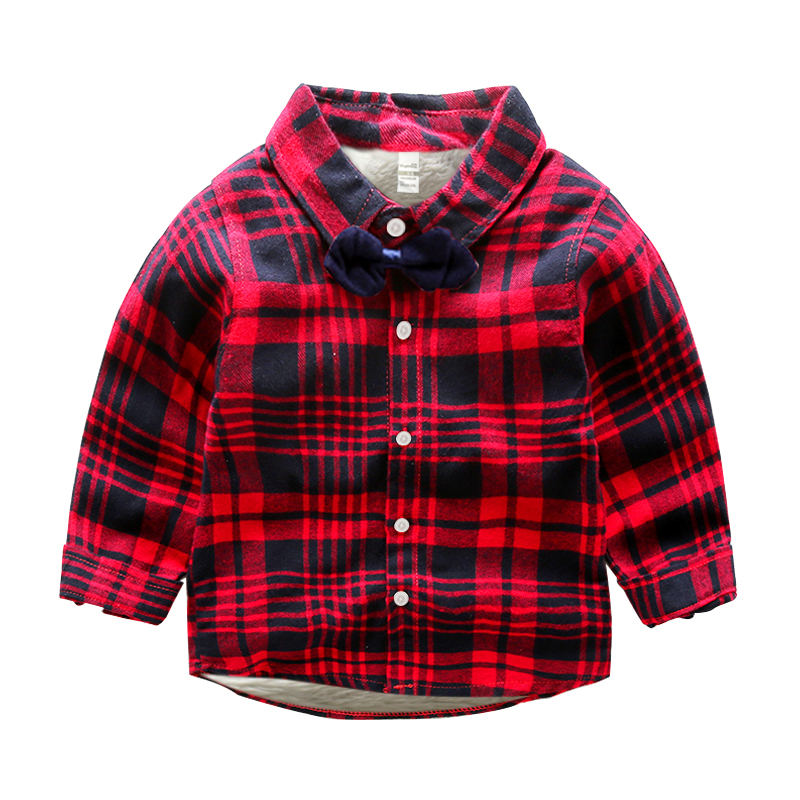 Warm Thicken Children Shirts Autumn Winter Boys Plaid Shirt With Fur Inside 2-8Y Unisex Kids Cotton Velvet Blouses Boys Clothing
