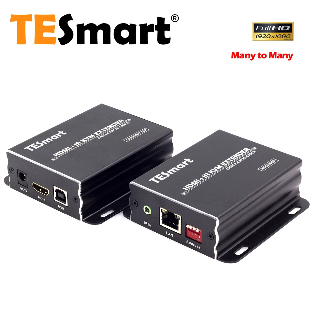 Tesmart Ip Netzwerk Kvm Extender Hohe Qualität 120 M Usb Hdmi Ir Kvm Extender Durch Cat5e/6 Tcp/ip Kvm-switches 1 Extender Tx + 1 Extender Rx