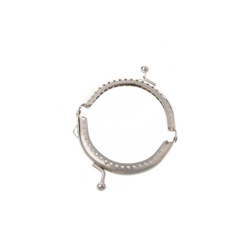 1PC Metal Frame Kiss Clasp Arch For Clutch Coin Purse Bag Silver Tone 6.5cm