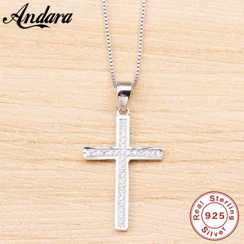925 sterling silver necklace and pendant ladies fashion ladies cross zircon jewelry accessories necklace