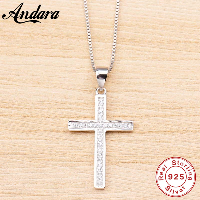 925 sterling silver necklace and pendant ladies fashion ladies cross zircon jewelry accessories necklace image