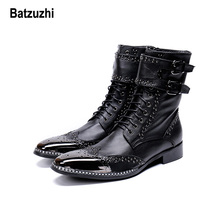 Batzuzhi Brand New Men Shoes Pointed Metal Tip Knight Boot Men zapatos de hombre Black Genuine Leather Combat Boots for Men Bota