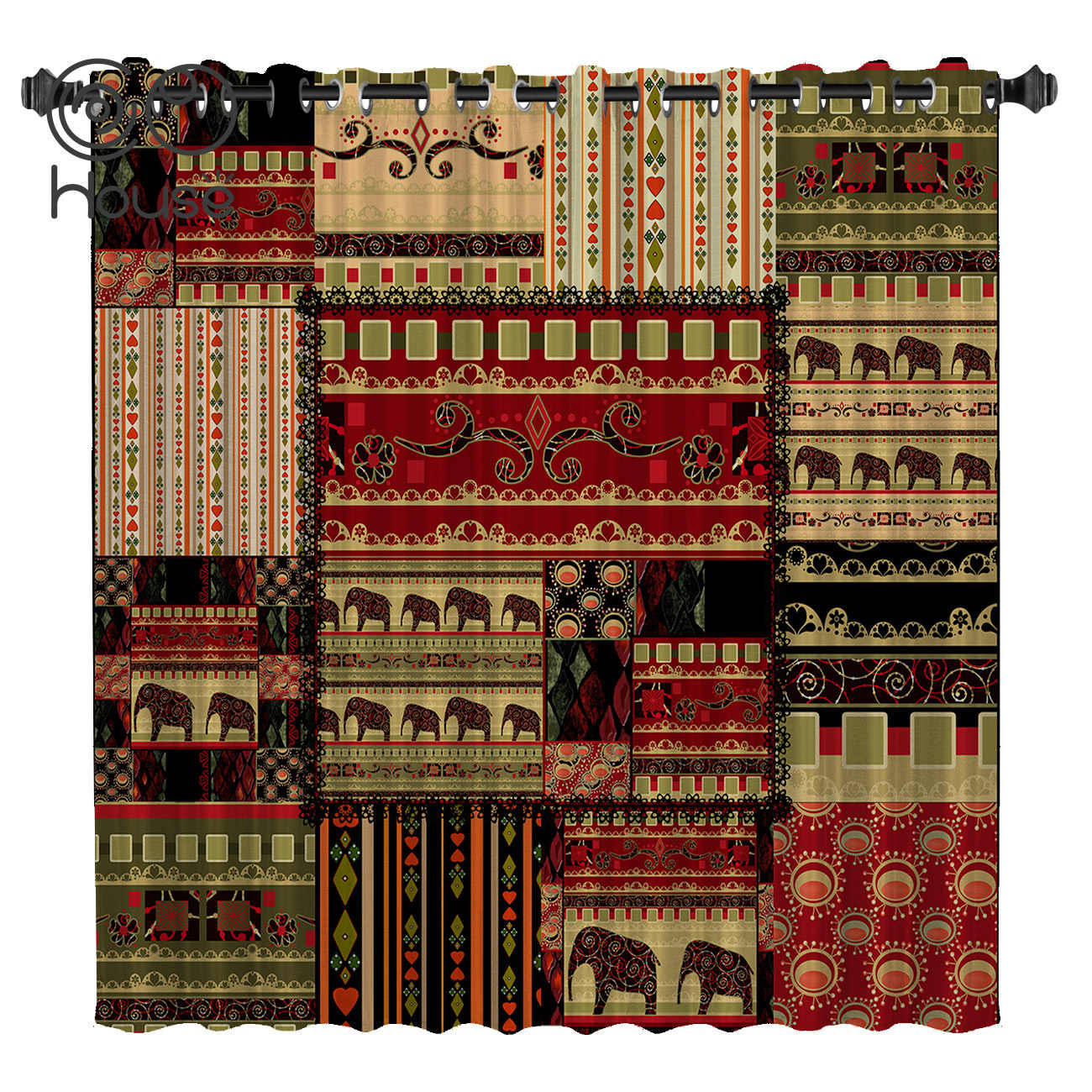 COCOHouse Africa Indian Elephant Room Curtains Large Window Blackout Curtains Kitchen Outdoor Print Window Treatment Ideas
