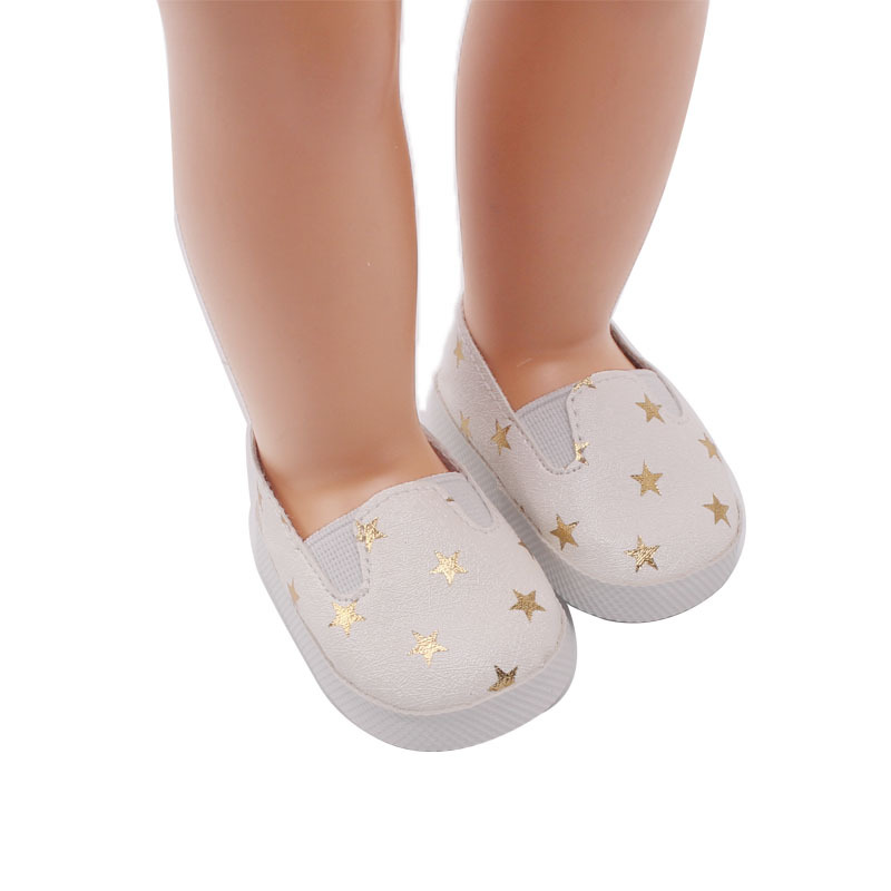1 Pair Fashion Mini Toy PU Leather Shoes Star Pattern Sneaker Plimsolls for 18 Inch Girl Dolls Ball Joints Doll Accessory Shoes in Dolls Accessories from Toys Hobbies