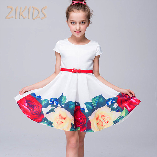 e61cce1f813d Girls Summer Dress Cute Casual Print Flowers Girl Dresses Children ...