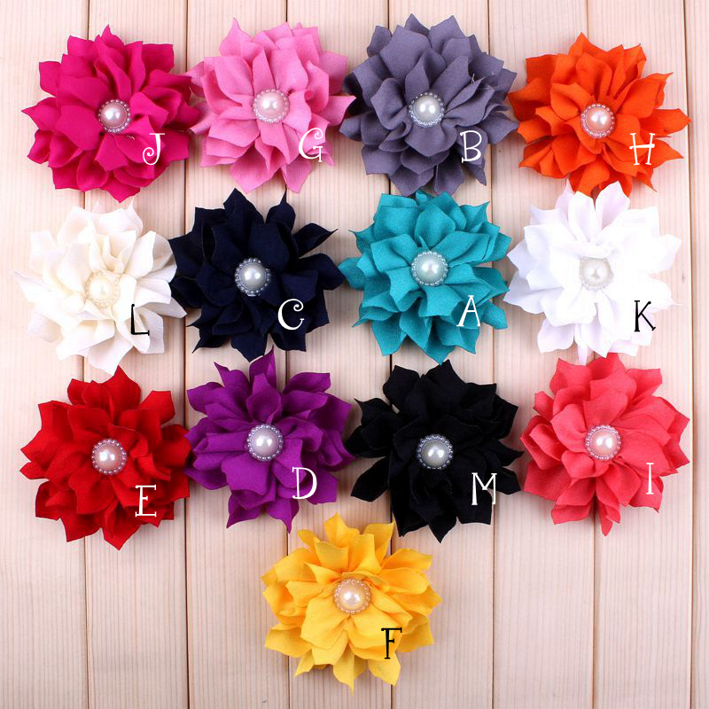 (30pcs/lot)3.6 13 Colors Fabric Lotus Leaf Flower For Girls Dress Chic Shiny Pearl Crystal Flowers For Hair Accessories