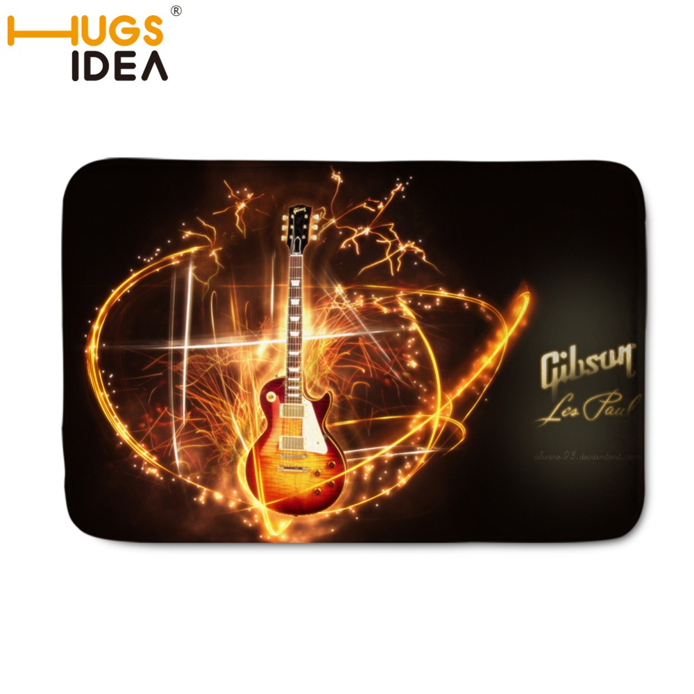 HUGSIDEA Custom Gibson Les Paul Doormat Gibson Les Paul Guitar Door Mat Music Mats Funny Rugs Bathroom Carpet Kids Rome Cushion