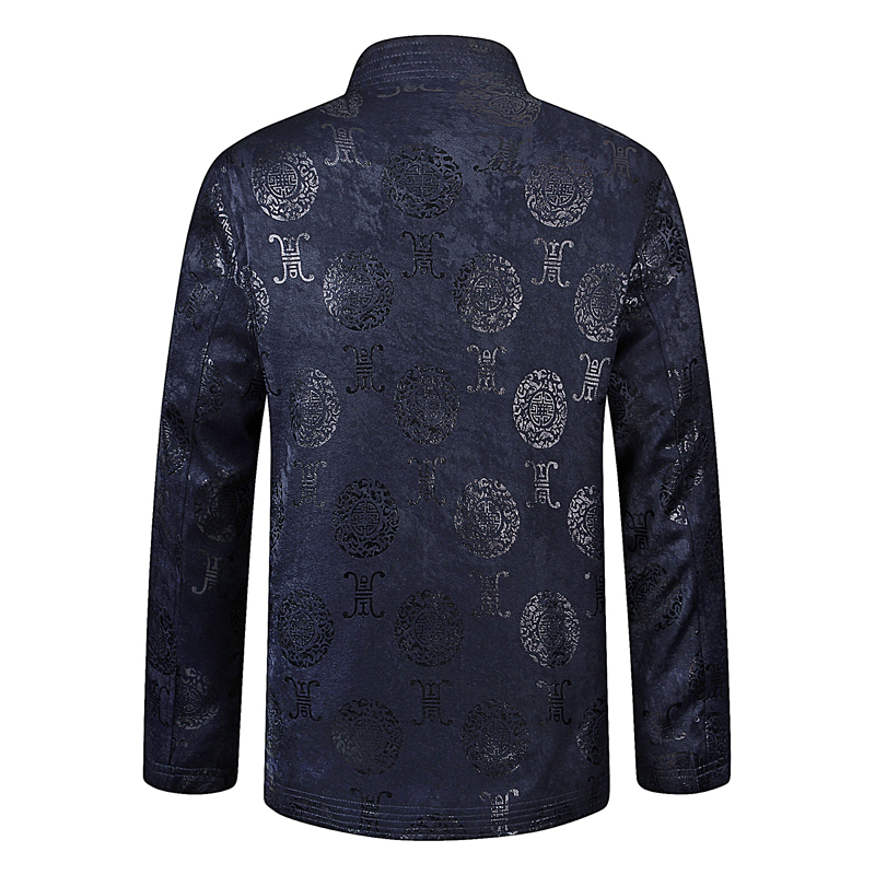 Spring Chinese Vintage Mens Dark Blue Red Jacquard Tang Suits Jackets With Ethnic Pattern Coats For