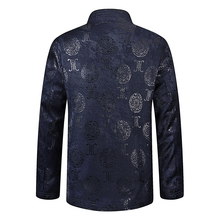 Spring Chinese Vintage Mens Dark Blue Red Jacquard Tang Suits Jackets With Ethnic Pattern Coats For Man Mandarin Collar Blazers