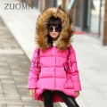 Russia Winter Children Jackets Girls Down Coat Warm Outerwear Kids Clothes Windproof Thick Fur Hooded Princess Clothing GH239