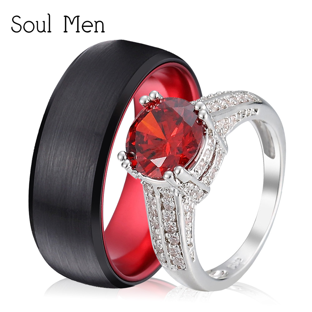 Soul Men Couple Lovers Wedding Rings Set 8mm Black Tungsten Band For Men Luxury Big Red CZ Stone Ring For Women Finger Jewelry